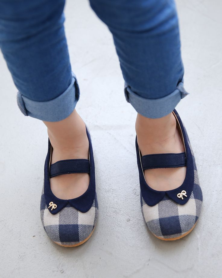 Ozkiz Girls Cucu Check Fabric Mary Jane Flats Shoes