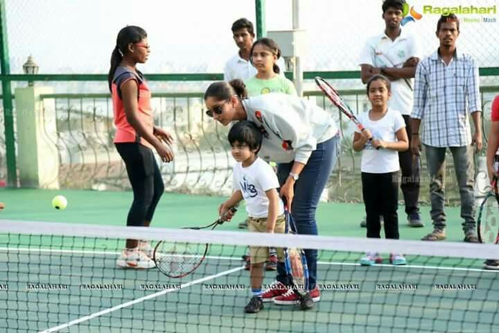 Grass root .. where it all begins 😀 Happy to Launch our second Sania Mirza Tennis Academy for the young kids .. so come and fall in love with this beautiful game of tennis 💙 #LoveyouMom