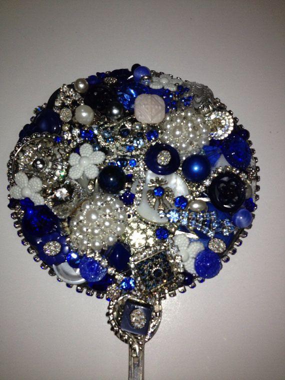 Vintage vanity jeweled hand mirror  custom by NostalgiaGirlDesigns, $50.00