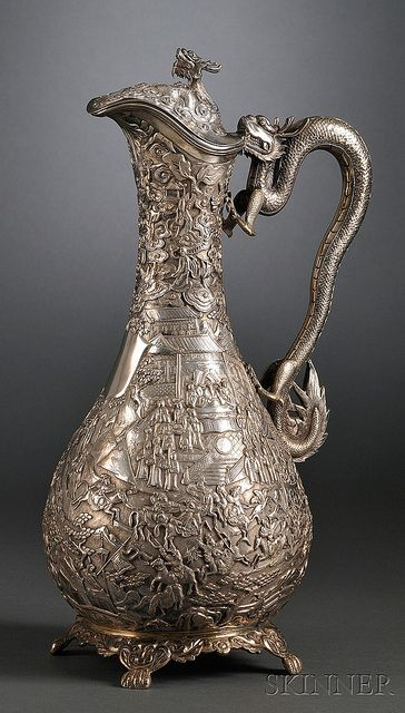 Sataloff Chinese Export Silver Ewer ~ dragon handle