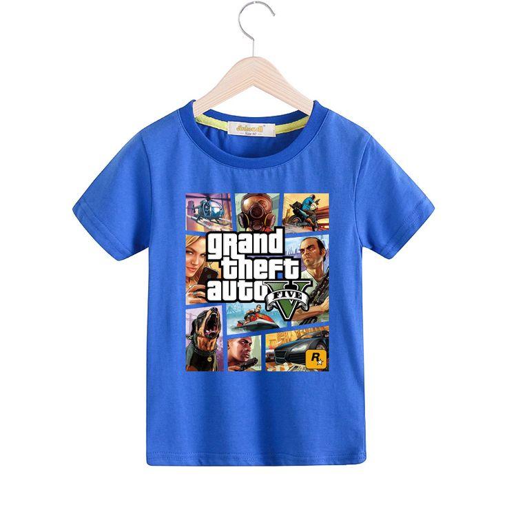Children Grand Theft Auto T-shirt Boy Girls Short Sleeves GTA5 Tshirt Kids 100%Cotton Tee Tops Clothes Baby GAT1 T Shirt TX029 //Price: $9.95 //     ##babyfashion
