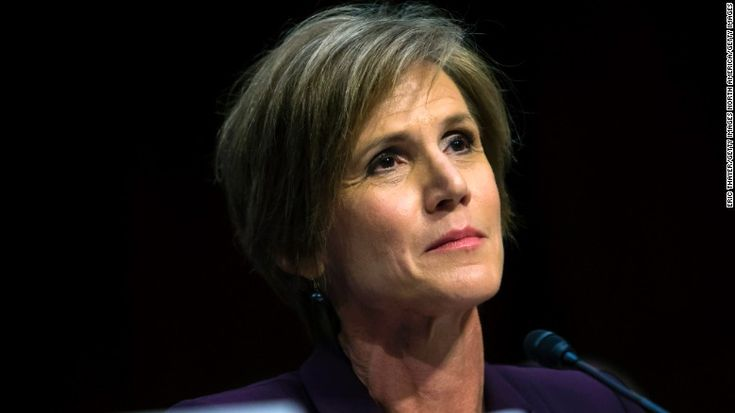 Former US Deputy Attorney General Sally Yates testifies before the Senate Judicary Committee's Subcommittee on Crime and Terrorism on Capitol Hill May 8.