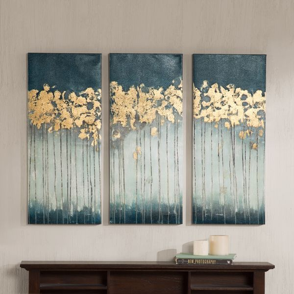 Madison Park Midnight Forest Gel Coat Canvas with Gold Foil Embellishment 3 piece Set