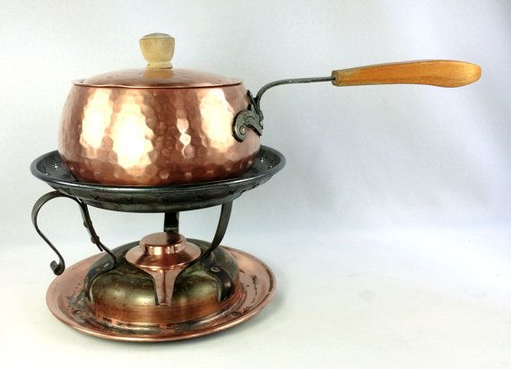 Hammered Copper Fondue Pot w Warmer Stand by WeStartedWithAMouse