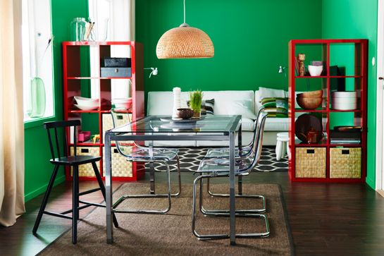 14 Styling Tricks To Steal From The IKEA 2015 Catalog #refinery29  http://www.refinery29.com/ikea-catalogue-styling-tips#slide10  Who said red and green means the  holidays? There's really no such rule, as this photo proves.