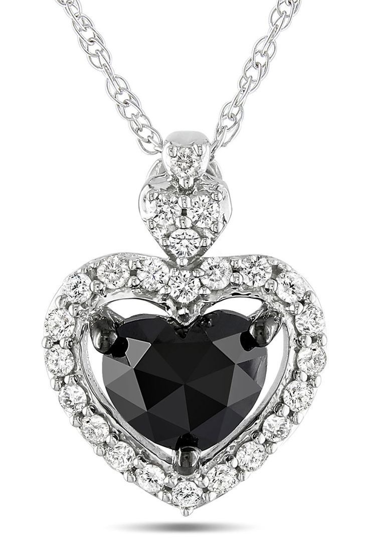 1Ct Black And White Heart Pendant In 10k White Gold