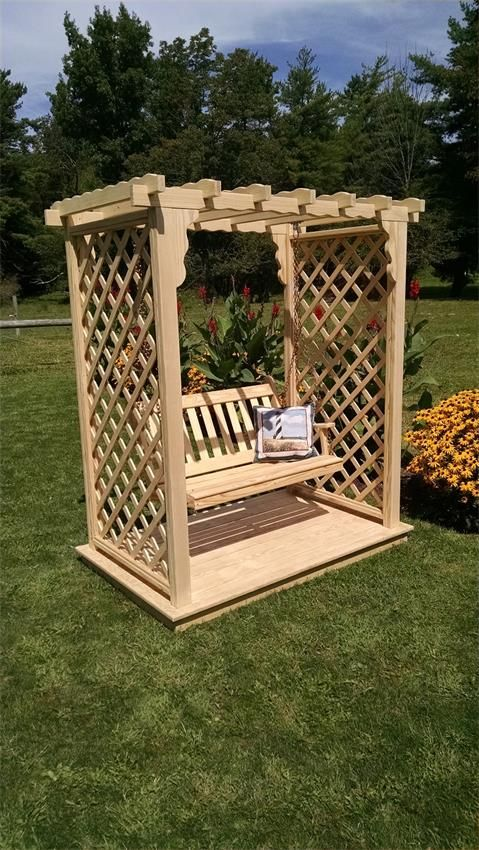 Pine Covington American Garden Arbor with Deck and Swing