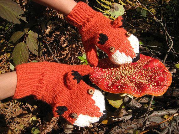 Hand Strick Fox Handschuhe Handschuhe in rot Orange mit von AmeBa77, $45.00