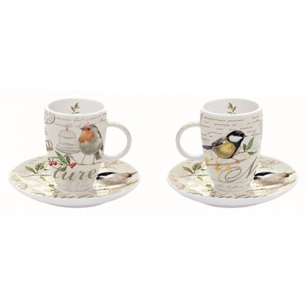 Les Oiseaux madár mintás kávés készlet  (kávéscsésze+alj), 2 személyes