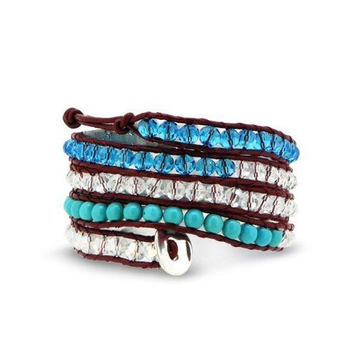 Valentines Day Gifts Bling Jewelry Blue Crystal and Turquoise Gemstone Beads Red Leather Wrap Bracelet Bling Jewelry. $19.99. Leather. Weighs 42.3 Grams. 6mm Beads. Turquoise and Crystal. 42 IN Length