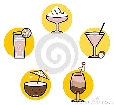 Retro cocktails collection. Vector Illustration