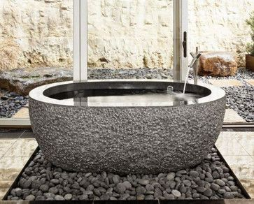 """by Stone Forest.    Granite models feature polished interior and rim with chiseled exterior, while marble models are typically all polished. Available in 60"""" or 72"""" L. Most tubs are made to order and can be done in several materials and textures."""