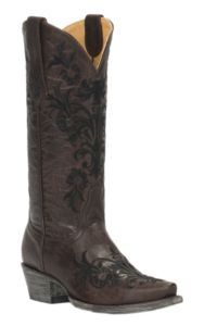 Cavender's by Old Gringo Women's Vintage Chocolate Goat with Black Vine Embroidery Snip Toe Western Boots | Cavender's