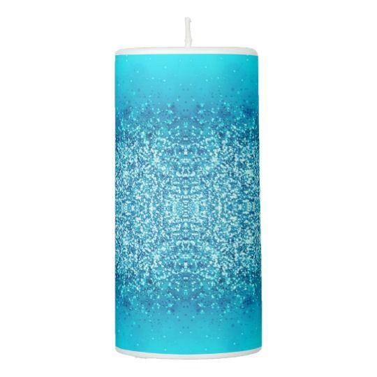 Elegant Blue Frost Sparkle Pillar Candle