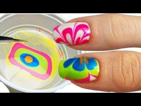 ▶ Come Fare la Water Marble Nail Art - YouTube
