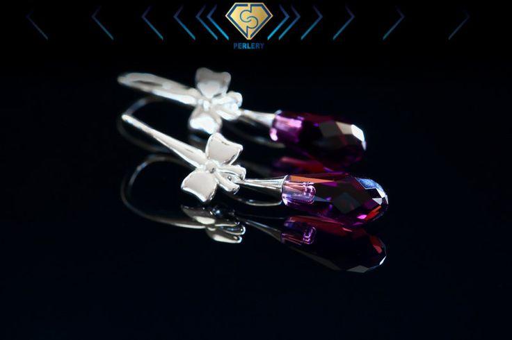 Purple Earrings, Swarovski Earrings, Amethyst Earrings,Swarovski Crystal, Amethyst Dangle Earrings,Purple Dangle Earrings, Silver Earrings by Perlery on Etsy