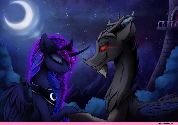 mlp art,my little pony,Мой маленький пони,фэндомы,Princess Luna,принцесса Луна,royal,Discord,minor,mlp шиппинг,mlp shipping