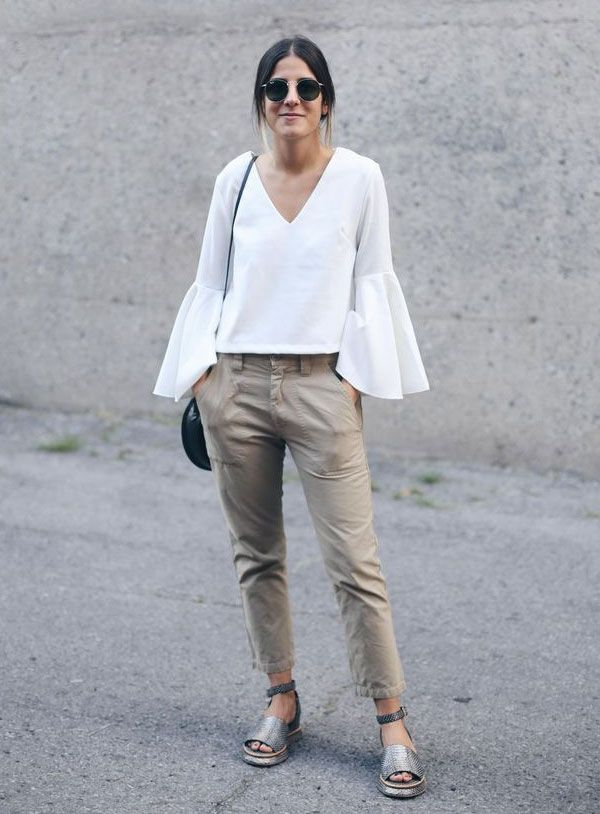 look blusa babados calça sarja