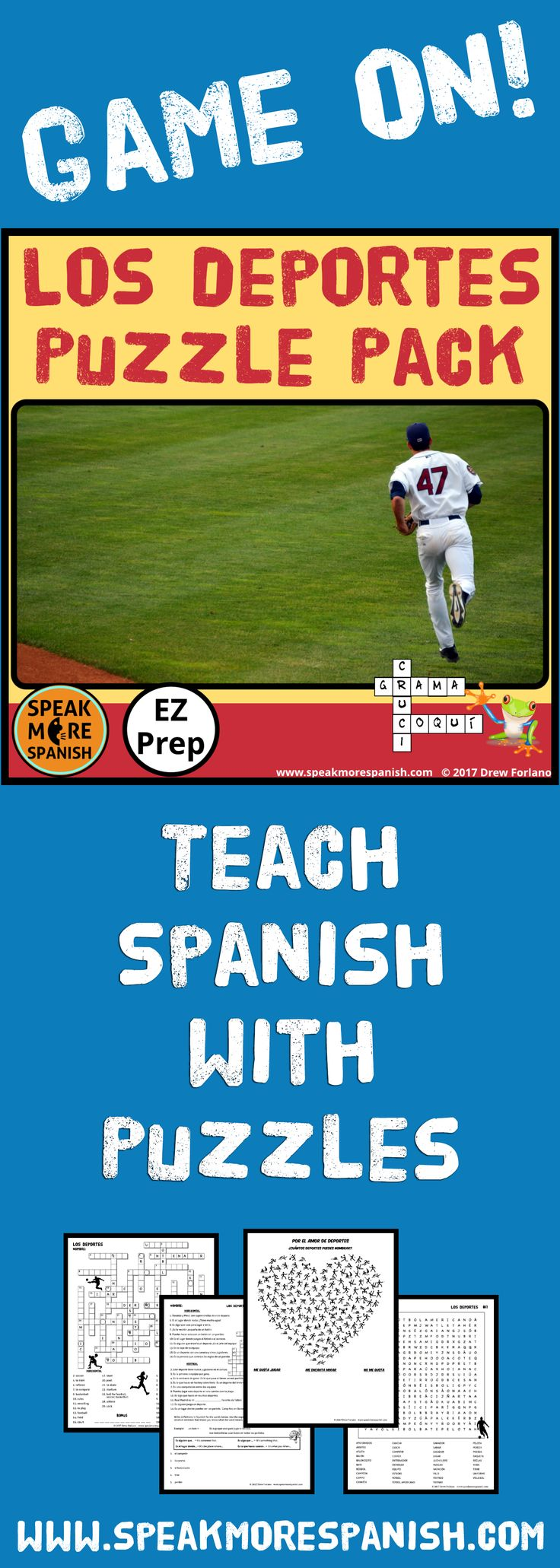 I love to Teach Spanish Vocabulary with Puzzles and Games! These make great Sub Plans too!  www.speakmorespanish.com