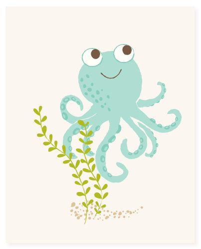 Octopus kunst aan de muur Oceaan kunst voor door SeaUrchinStudio