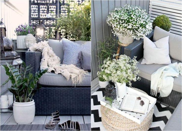 schwarze Rattan Sofas, graue Sitzkissen und weiße Dekorationen