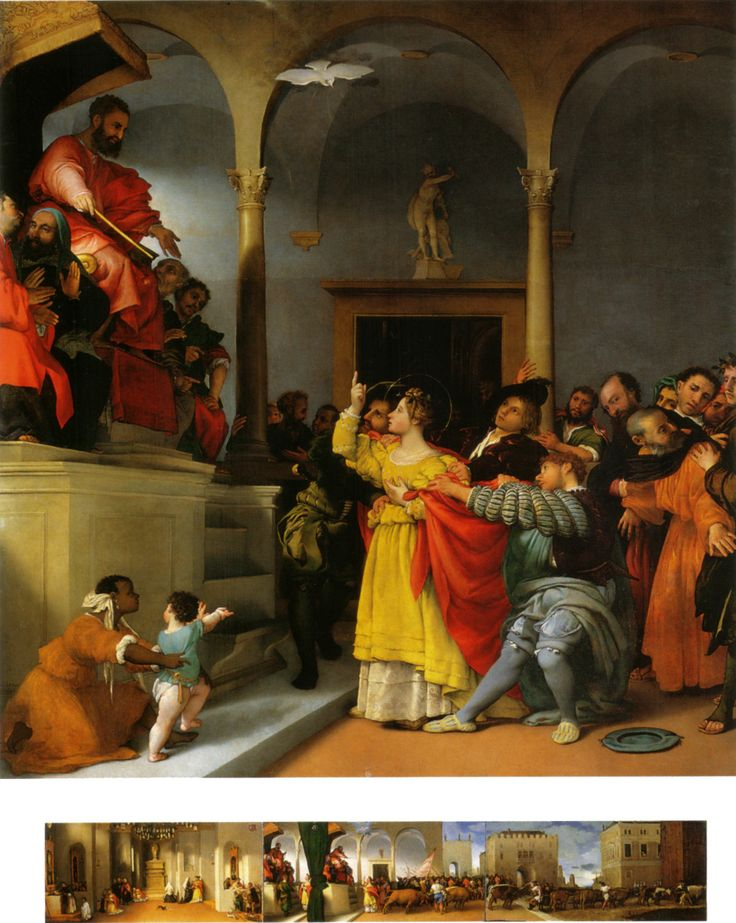 St Lucy before the Governor and (below) all of the series by Lorenzo Lotto depicting the story of St Lucy.