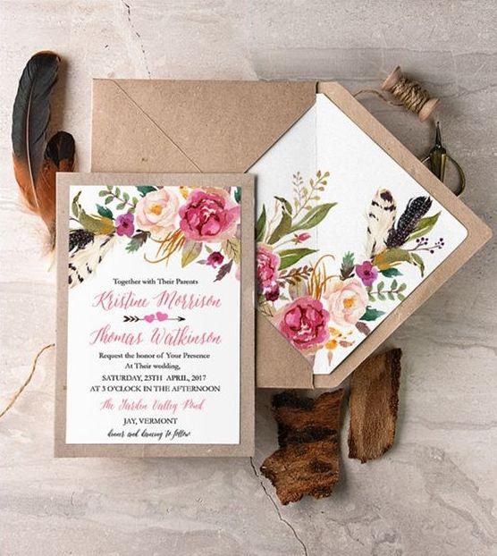 partecipazioni di matrimonio con fiori realizzati con la tecnica del découpage