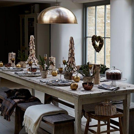 ρουστίκ tischdeko Καλά Χριστούγεννα από ξύλο χρυσό ιδέες