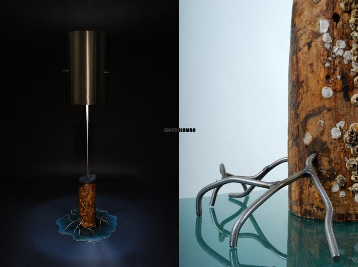 """""""Marine light""""  Stainless steel, drift wood and glass  110-120V 60W light"""