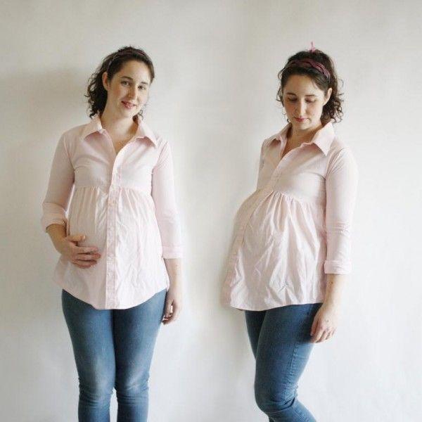 Chica embarazada usando una camisa de hombre modificada