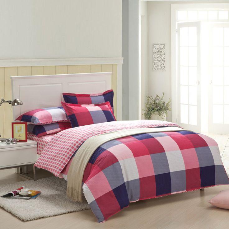 Свежий красный Решетки пододеяльник наборы, 100% хлопок 4 шт. установлены тип кровать подшивок, свежий студент дети наборы постельных принадлежностей bedskirt лист типа
