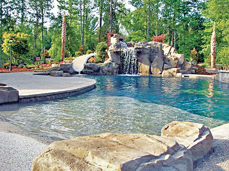 A gorgeous beach entry pool built by Blue Haven Pools Charlotte.