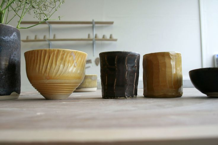 Playing with manganese and rutile on facet bowls + cups