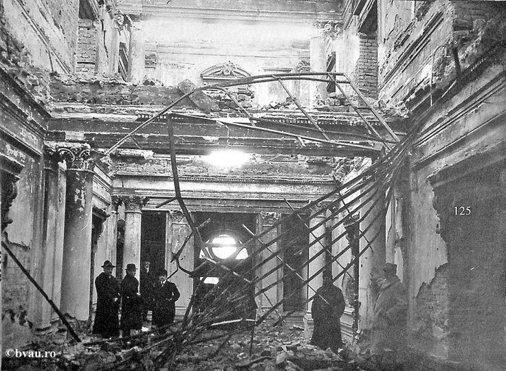 """Sediul Comisiei Europene a Dunării bombardat în Primul Război Mondial (1914-1918), Galati, Romania. Imagine din colecţiile Bibliotecii Judeţene """"V.A. Urechia"""" Galaţi."""