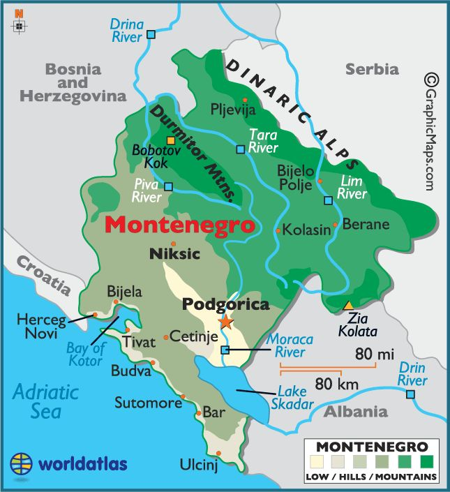 Montenegro Large Color Map