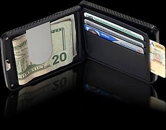 Tungsten W Biometric Wallet. How about a fingerprint scanner, a carbon fiber shell, and a mobile alarm that protects both your wallet and your phone? This wallet is the MISSION IMPOSSIBLE of wallets. #Wallet #Men's Best Wallet #RFID