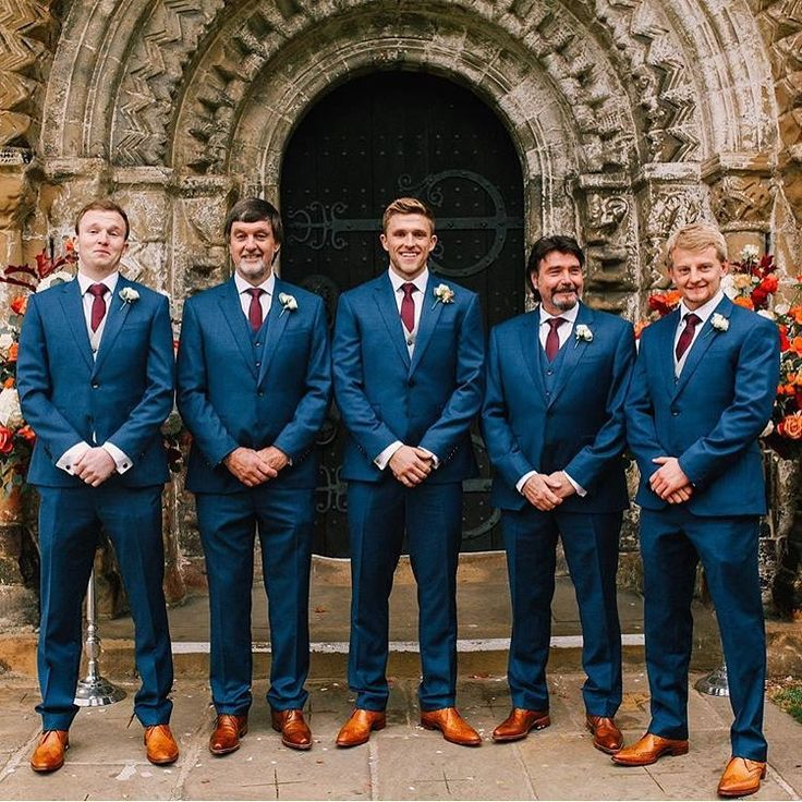 "145 Likes, 12 Comments - The Groomsman Suit (@thegroomsmansuit) on Instagram: ""@david_willey72 and his guys styled their brighter blue suits perfectly for the fall. Love the…"""