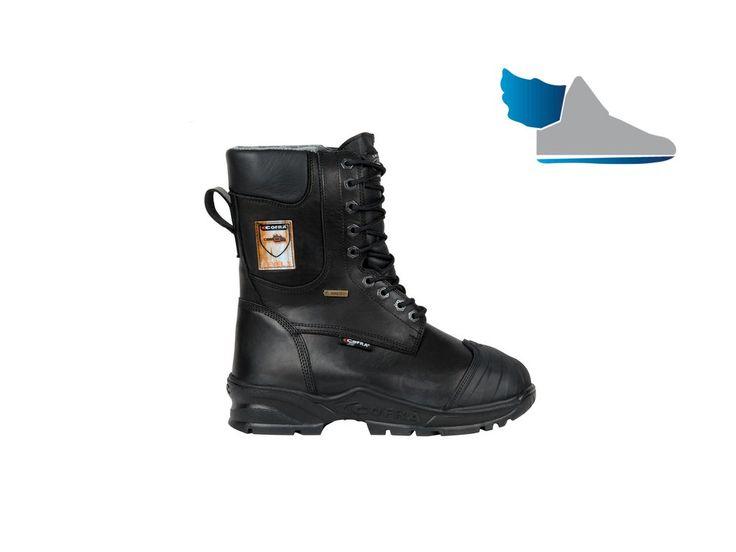 Zimná, vysoká, pracovná obuv  ENERGY A E P FO WRU WR CI HI HRO SRC  z nepremokavej kože a ochranou proti prerezu.