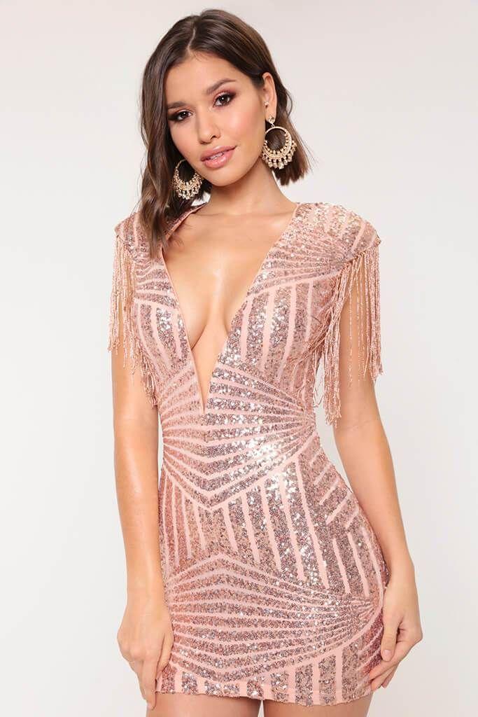 d0a26e1da3e Gold Plunge Sequin Dress - PDP – I SAW IT FIRST | Short Dresses in ...