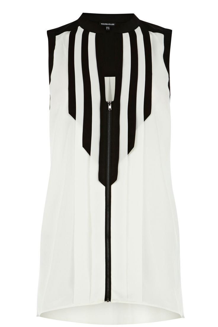 Colour Block Zip Blouse: Channel the best that Spring/Summer 13 has to offer in this #monochrome blouse. We love the unfinished strip detail, re-pin and like if you agree!