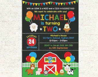 FARM BIRTHDAY Invitation Farm Birthday Party by BSsuperclipart