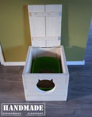 Steigerhout whitewash - de ideale oplossing voor de kattenbak! Handmade WJ