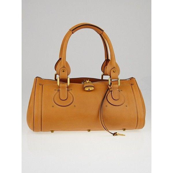 chloe elsie small bag - Pre-owned Chloe Caramel Aurore Calfskin Leather Padlock Satchel ...