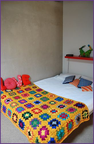 LOVE is right. Comforters, Crochet, Granny Square Blanket, Bedrooms Area, Squares Blankets,  Puff, Granny Squares, Yellow Backgrounds, Mustard Yellow