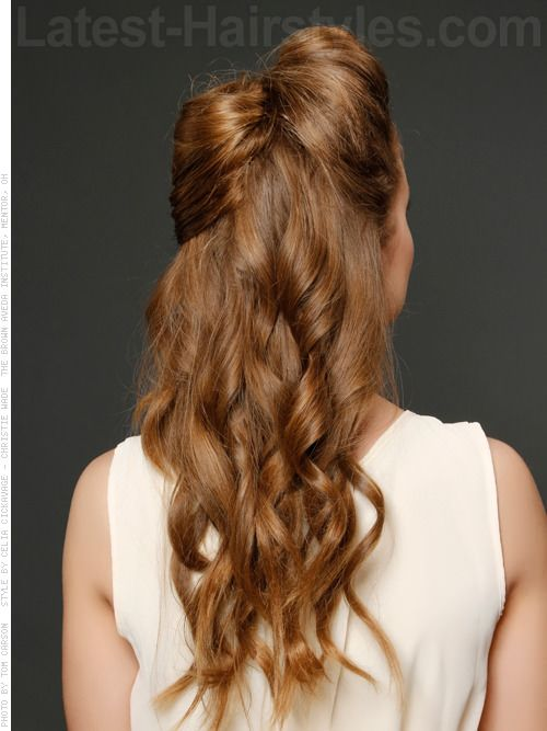 """Long half updo with a """"bow"""""""