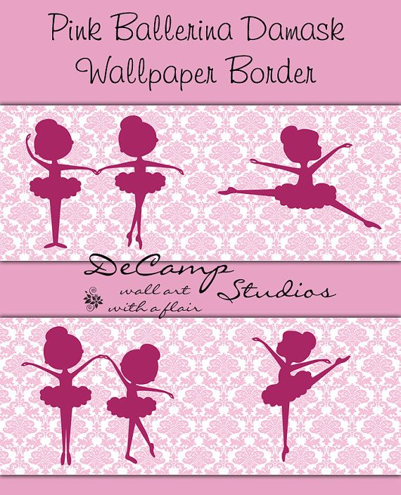 Pink Ballerina Damask wallpaper border wall decals for baby girl nursery or children's room decor #decampstudios