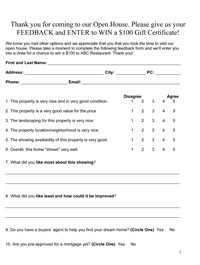 picture about Free Printable Open House Feedback Form known as Accurate estate demonstrating comments variety pattern