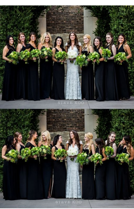 Large bridal party wears black gowns in different styles, with unique green bouquets. -Steve Koo Photography. See more wedding day looks and inspiration at https://stevekoophotography.com. #bridesmaids #bridalparty #wedding #bridesmaiddress