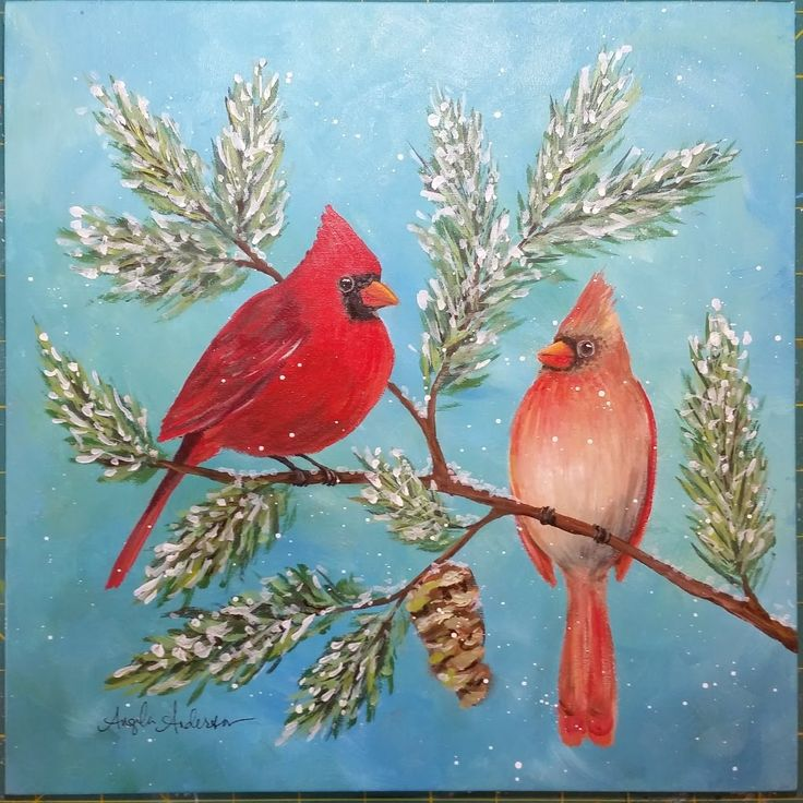 LIVE Cardinal Painting Tutorial | Angelooney Winter Paint In Event!