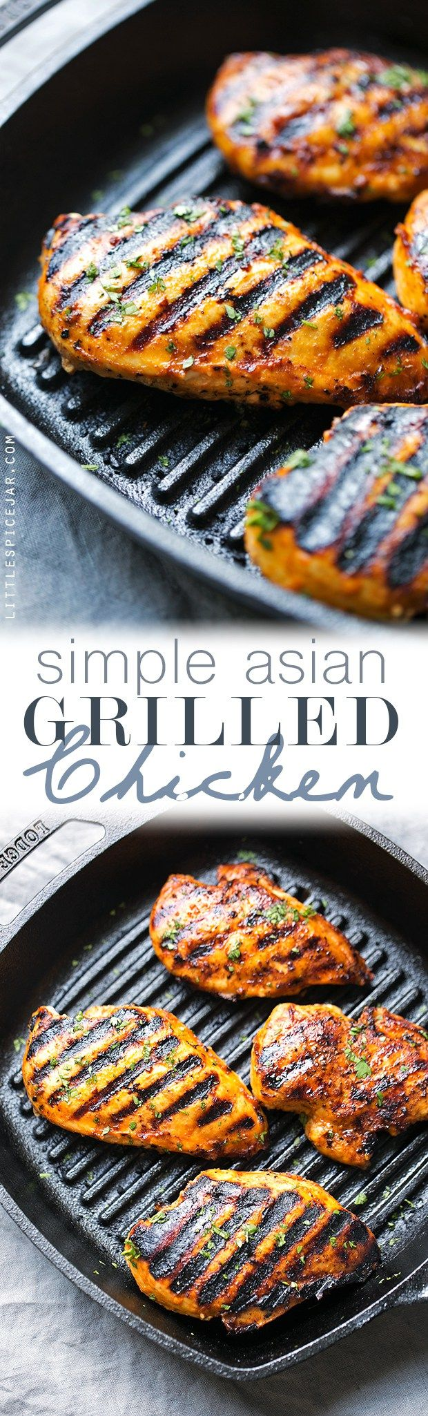 Simple Asian Grilled Chicken - tender and juicy chicken breasts marinated with spicy sriracha and a secret ingredient that makes this chicken to die for! Coming in at just over 200 calories.